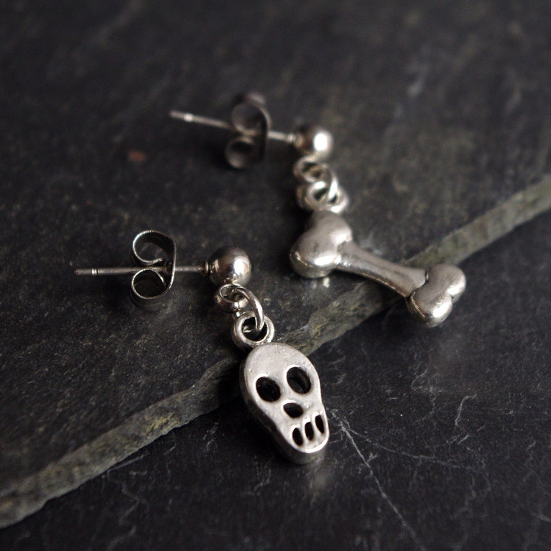 Skull and Bone earrings  Man Halloween Costume Creepy image 0