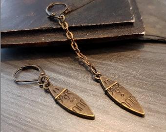 Bronze Metal Dagger earring, Primitive Engraved Spike earring, Man jewelry, Boho Gift