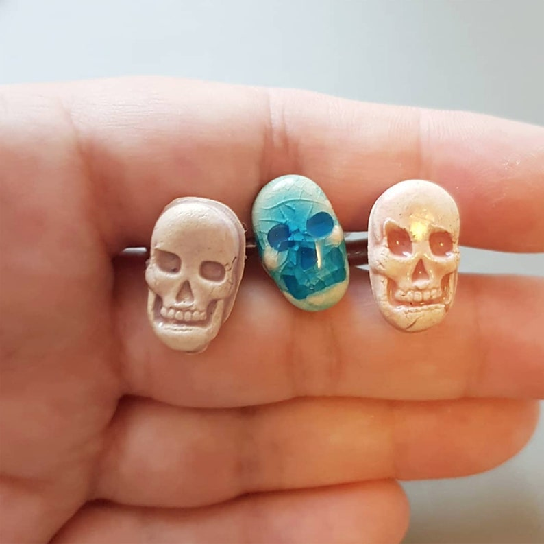 Skull Head Cufflinks Porcelain Men's Cuff Links Pirate image 0