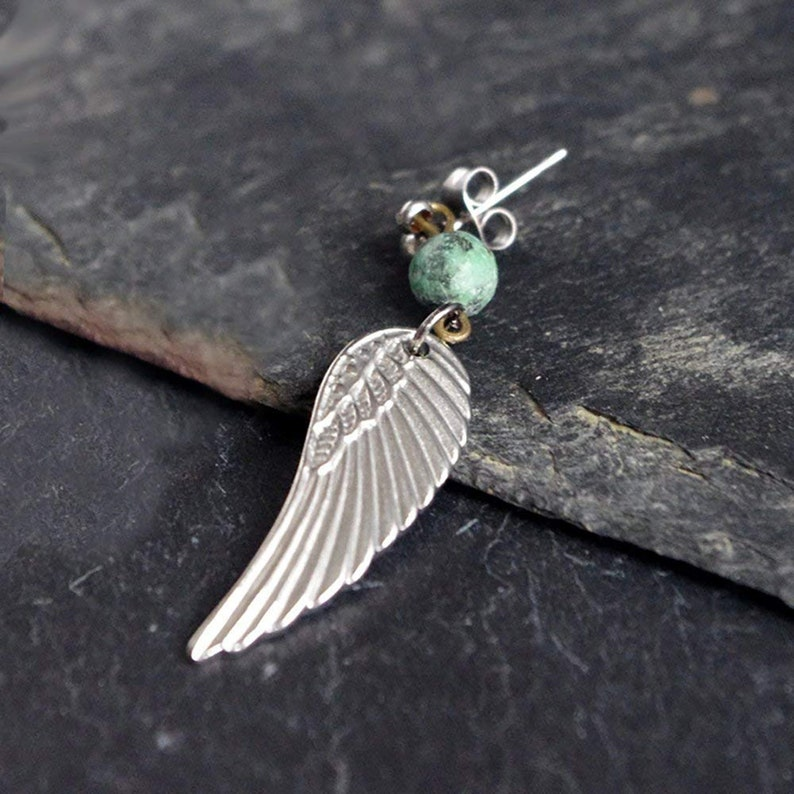 Steel feather earring Silver Angel wing Single dangle for image 0
