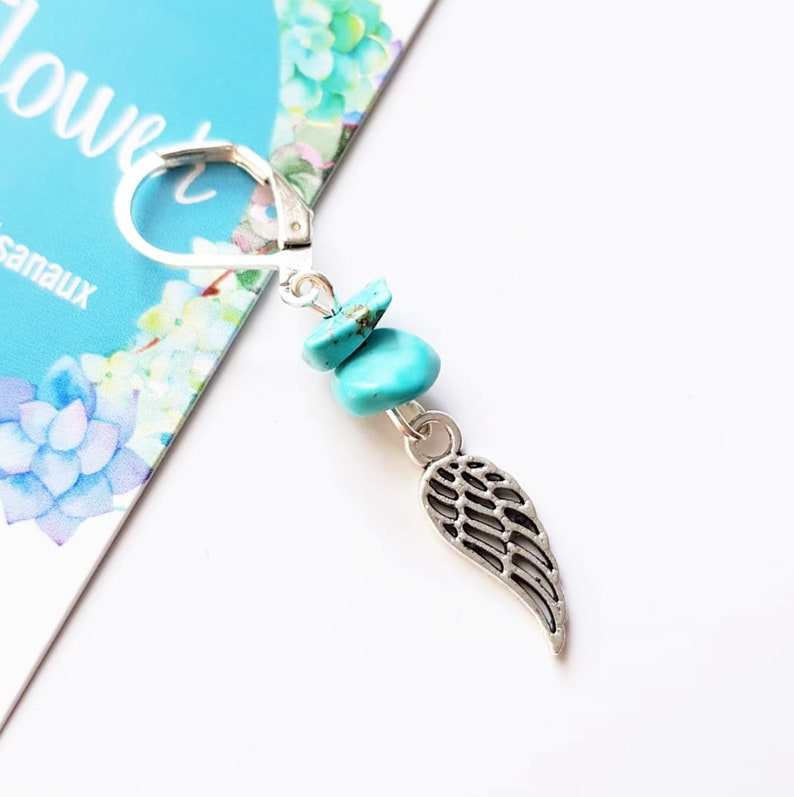 Man angel wing earring Silver tone feathe Howlite turquoise image 0