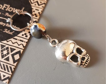 Halloween Skull earring, Orange Black Agate Stone, Spooky Skeleton Punk Rock - Stainless Steel Hoop, Spooky Punk Rock - Stainless Steel Hoop