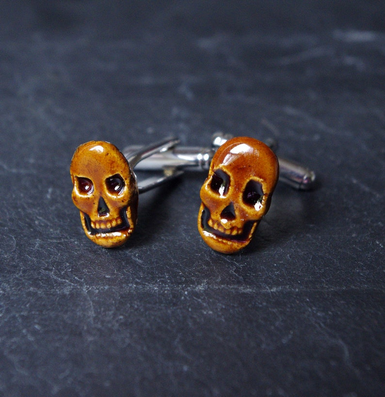 Halloween accessories for men  Skull Cufflinks  Porcelain Brown