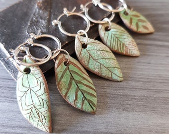 Turquoise Ceramic Feather earring, Southwestern Male earring, Man Hoop earring with handmade pendant - Silver Steel Stainless hoops