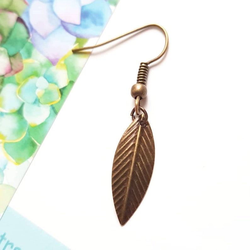 Man simple feather earring bronze brass metal dangle boho image 0