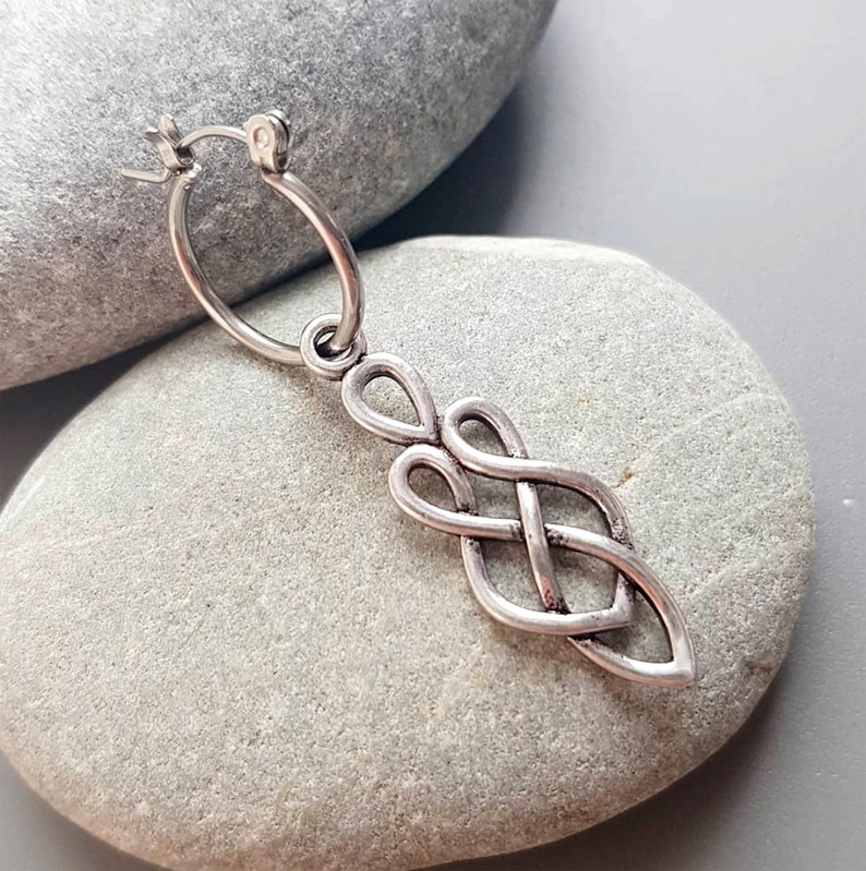 Celtic Knot Silver Toned Dangle Earring Man Stainless steel image 0
