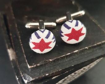 Red star Cufflinks, Fabric Cufflinks, Tricolor Cuff Links, Superhero gifts, Hero gift, Celestial dreams, Usa Flag color
