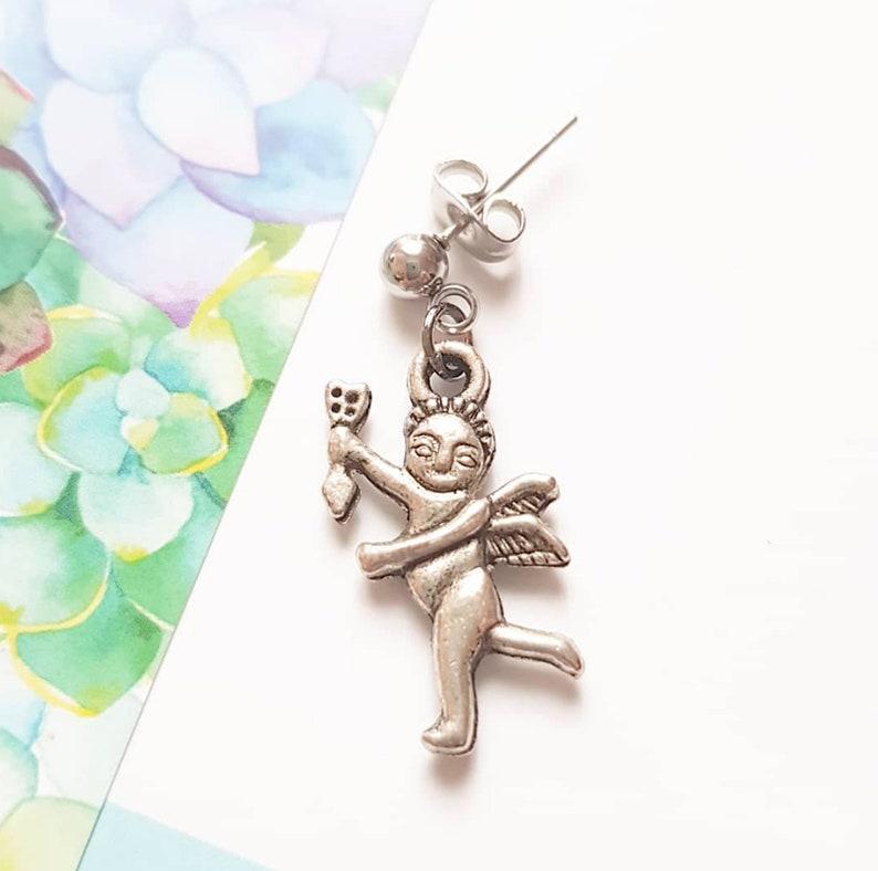 Silver Angel Earring Cherub Man Stud Cupid Love Gift lover image 0