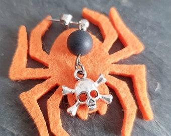 Pirate Skull Earrings Halloween, Black Stone Onyx, Scary Skeleton Horror