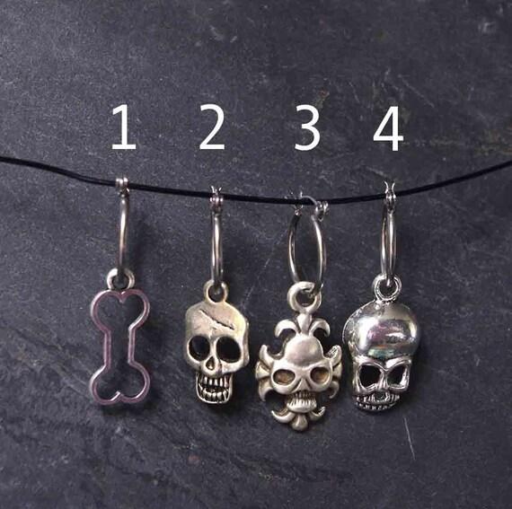 Skull Steel Huggies Earrings Single