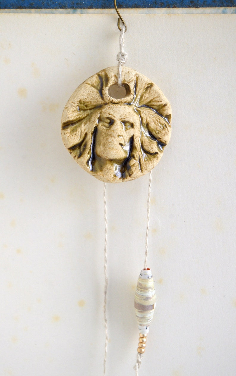 Indian chief earring Native american Beige Southwestern image 0