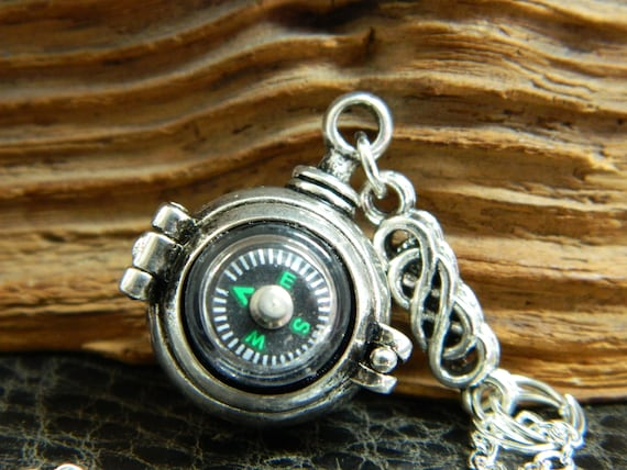 Hiking.Camping.Funky.Cool Real Mini Compass Earrings//Ring//Necklace