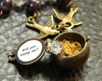 Secret Message Locket Necklace.Propose.Will You Marry Me. Mini Ring. Alternative Propose.