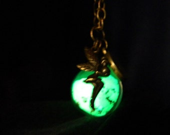 Magical Glow In The Dark Glass Orb Necklace. Angel.Fairy. Kitsh. Enchanted