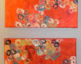 Abstract Study 3 - 12x12 (ea.) 2 piece abstract acrylic canvas