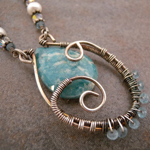 Amazonite teardrop sterling silver wire wrapped pendant with