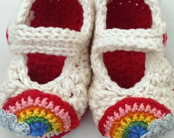 rainbow crochet baby booties shoes