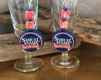 Samuel Adams Brewing Beer Cap Earrings Drop Beer Bottle Cap Dangle Earrings Brown Crown Boston Brewing Sam Adams