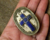 1970s silver aluminum container, Gemstone Lapis Lazui cross, orante small lidded pill holder, Made in Pakistan