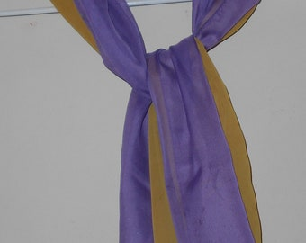 7500d5d56d0cd Vintage nylon scarves in purple and mustard 1980s fashion scarf