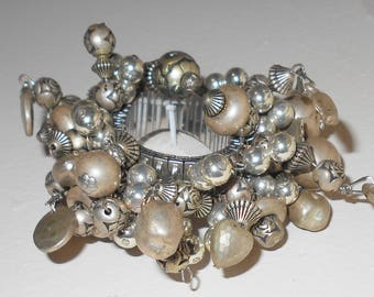 Vintage cha cha bracelet for her with silver heart charms and steel band