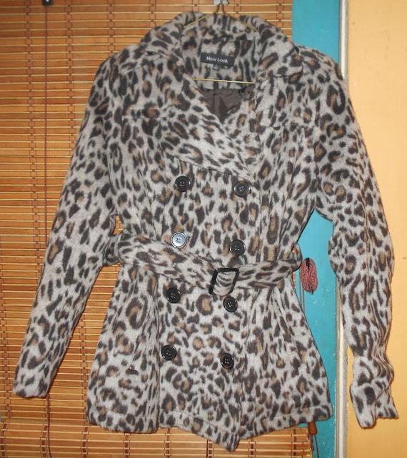 Vintage Leopard fake fur winter coat, Bust 34, 199