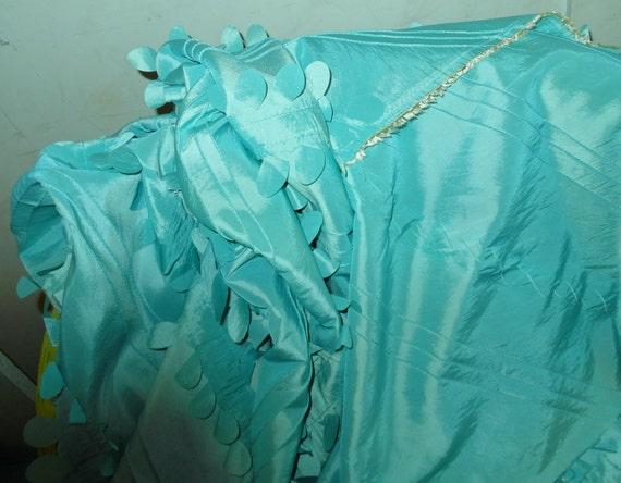 Fabric turquoise taffeta Indian Wedding India boho material vintage 1980s large size 75 x 58