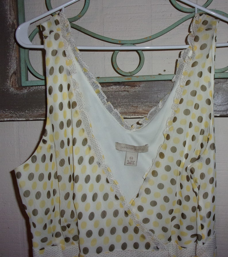 Vintage Jonathan Martin white sheer with yellow and light brown polka dots wrap dress Tea Party dresses with a 1930s style from the 1990s