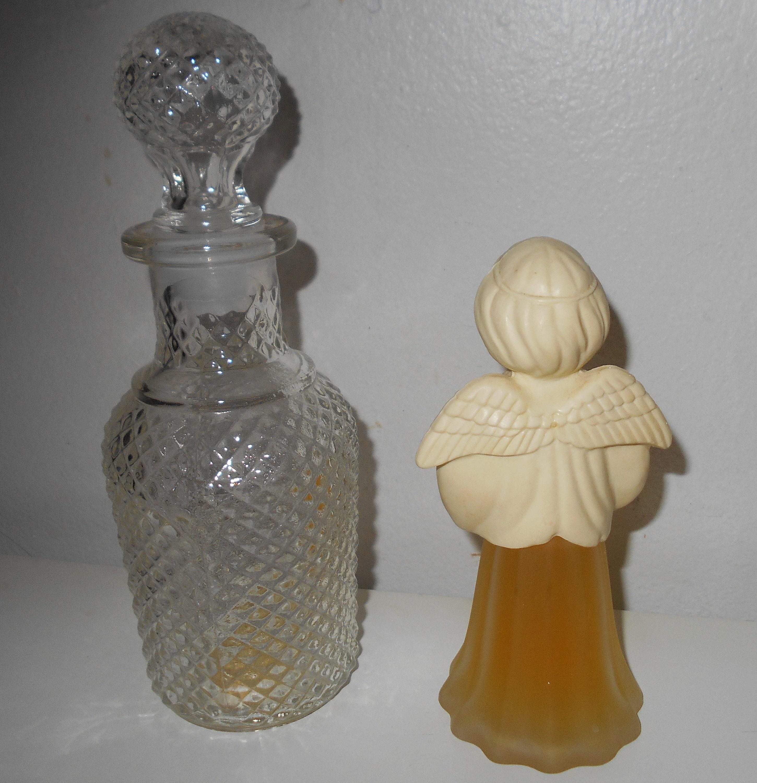 Avon vintage Crystal Glass Apothicaire Decanter ou Avon Angel