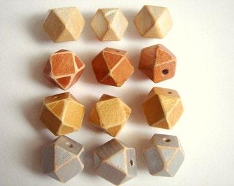 Shabby  Geometric  Wood Beads,Old Look Hand Painted Geometric Beads,Do it Yourself Geometric necklace