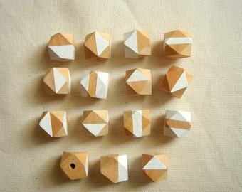Geometric Hand Painted Wood Beads,Do it Yourself Geometric necklace