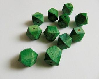 Green Geometric Wood Beads -20mm Big Hole, Geometric Jewelry,Do it Yourself Geometric necklace