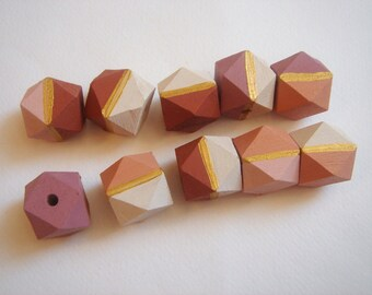 Autumn Leafs  Colors Geometric Hand Painted   Wood Beads 20mm Big Hole,Do it yourself Geometric Jewelry