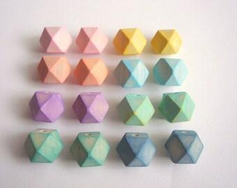 Pastel Geometric Wood Beads,Hand Painted wood Beads,  Geometric Jewelry,Do it Yourself Geometric necklace