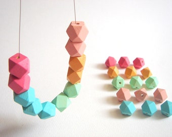 Pastel Geometric  Wood Beads, 20 Hand Painted wood Beads 12mm, Make jewellery for selling