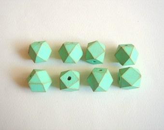 Hexagon Beads, Mint Geometric  Wood Beads, Hand Painted Geometric Beads,Do it Yourself Geometric necklace