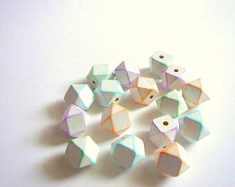 Painted Geometric Wood Beads, Summer Geometric Jewelry,Do it Yourself Geometric necklace