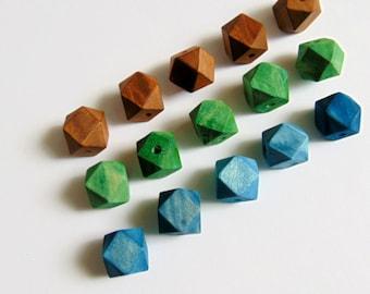 Hexagon Wood Beads -20mm Big Hole, Geometric Jewelry,Do it Yourself Geometric necklace