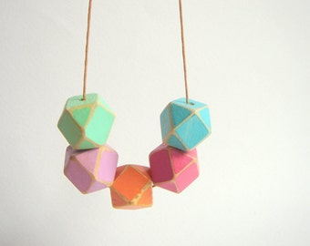 Shabby Neon Geometric  Wood Beads,Old Look Hand Painted Geometric Beads,Do it Yourself Geometric necklace
