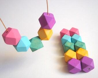 Geometric Wood Beads,Hand Painted wood Beads,  Geometric Jewelry,Do it Yourself Geometric necklace