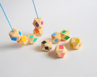 Hexagon Wooden  Beads, Geometric Hand Painted Wood Beads 20mm Big Hole, Do it yourself Geometric Jewelry