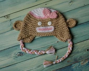 Crochet Girl's Sock Monkey Earflap Beanie 3M