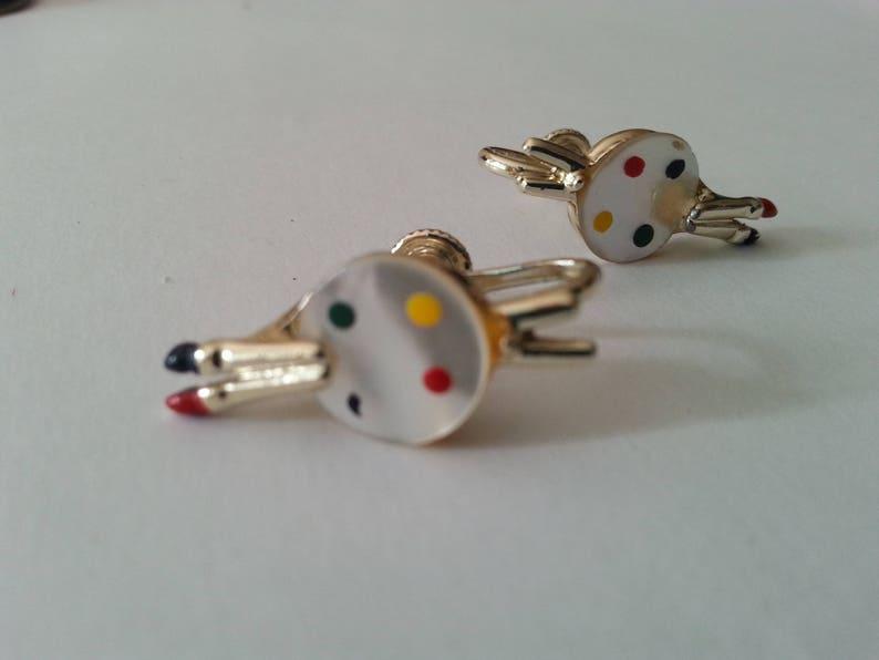Artist Palette Earrings Mother of Pearl Enamel Silver Toned Screw Back Vintage 1960/'s
