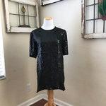 Vintage 1980's Joseph Le Bon Black Art Deco Gatsby Sequin Glam Top Tunic - Small