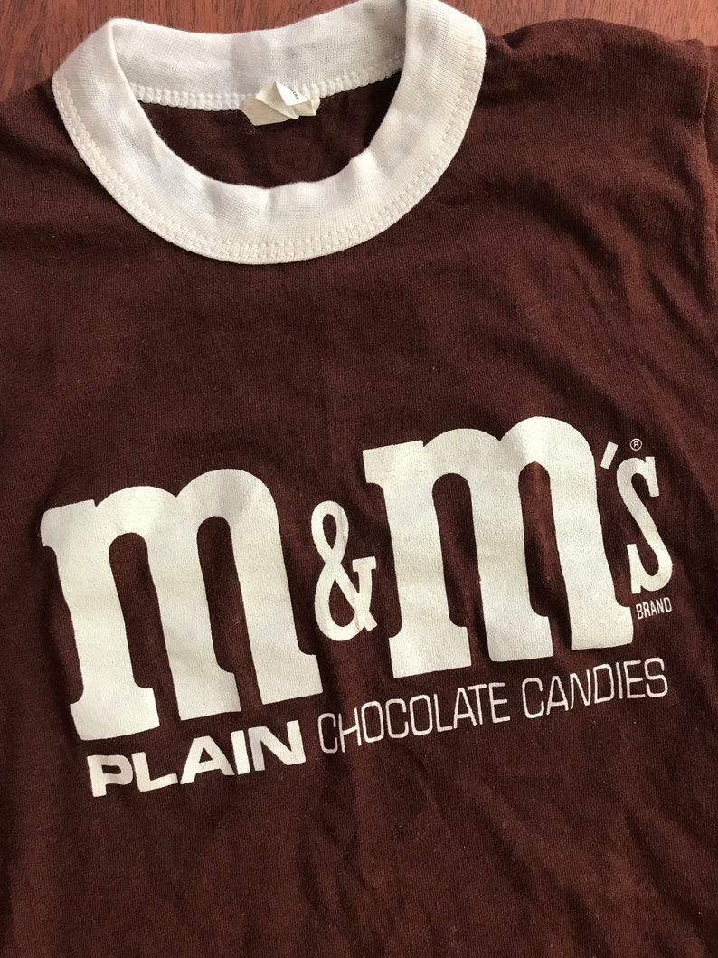 Vintage 1970/'s M/&M/'s Candy Chocolate Kids Ringer Brown Shirt Size L 14-16