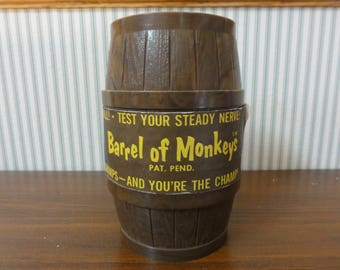 1966 Barrel of Monkeys Game, Complete w/Paper Label, 12 Monkeys, Original Lakeside Toys, Game for Young Children, Vintage Toy #758