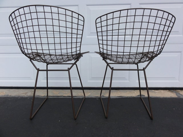 Pair of Vintage Bertoia Side Chairs Knoll Painted Mesh Wire | Etsy