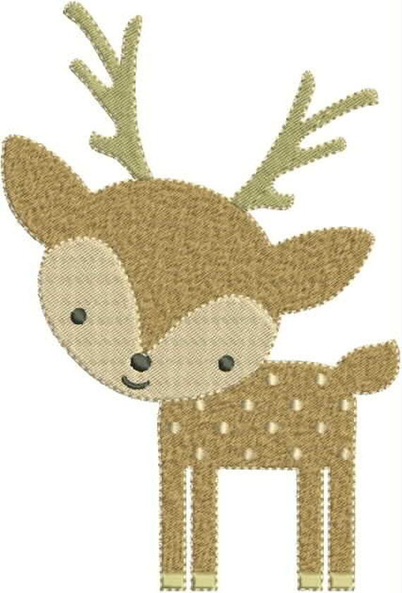fdac1d4bd3d81 Cute Little Deer Machine Embroidery Design 4x4 5x7 Bernina Brother Pfaff  Husqvarna and More
