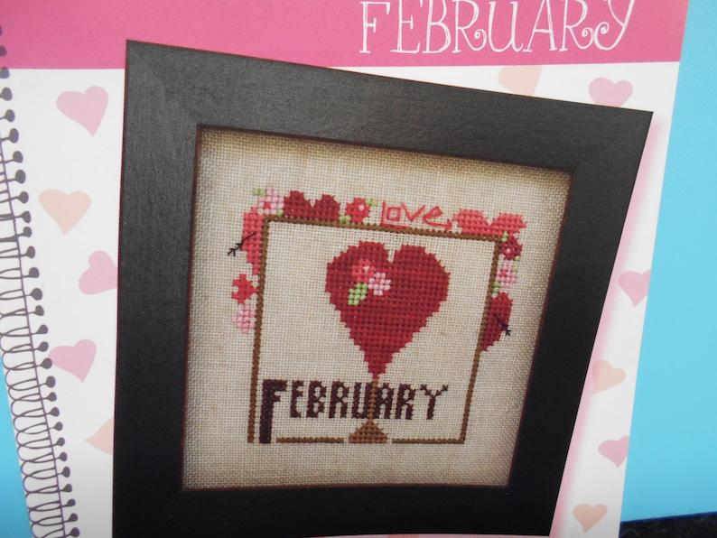 big red heart NEW ~ /'Joyful Journal- February/' Cross Stitch pattern by Heart in Hand NeedleArt Love flowers