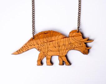 Dinosaur Triceratops Necklace. Dinosaur Chain. Dinosaur Pendant. Dinosaur Necklace. Gold Dinosaur Necklace. Bridal Jewelry Alternative Bride